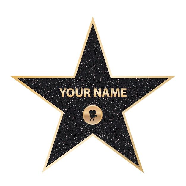 Star attore famoso marciapiede, hollywood walk of fame Vettore Premium