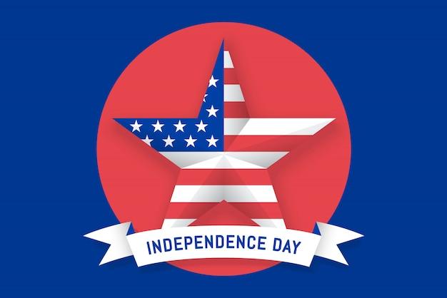 Star con bandiera americana e nastro con scritta independence day Vettore Premium