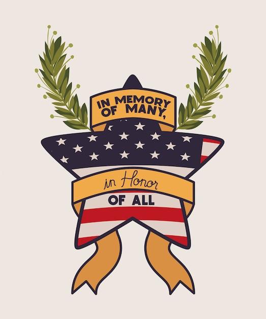 Star con la corona e la bandiera degli sua dell'emblema di giorno dei caduti Vettore Premium