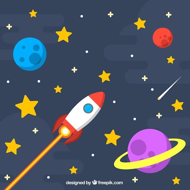 Star sfondo con razzi e pianeti Vettore gratuito