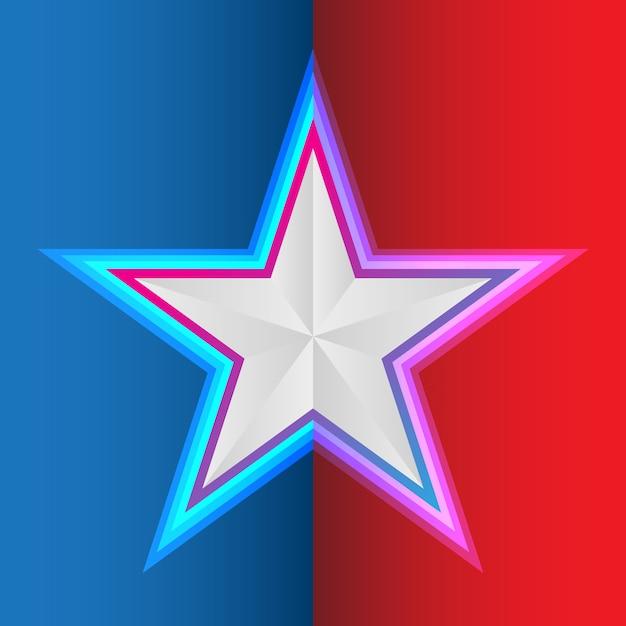 Star su sfondo rosso blu Vettore Premium