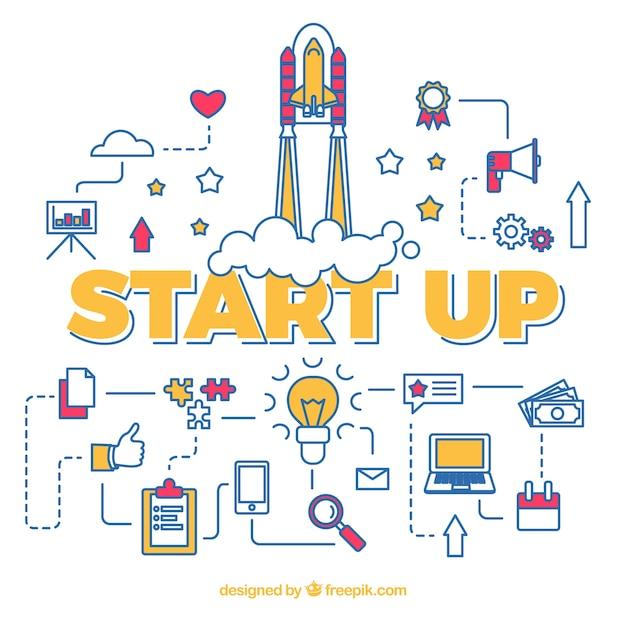Start up concept con razzo con vari elementi Vettore gratuito