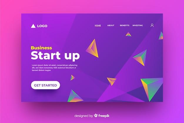 Start-up geometrica 3d landing page Vettore gratuito