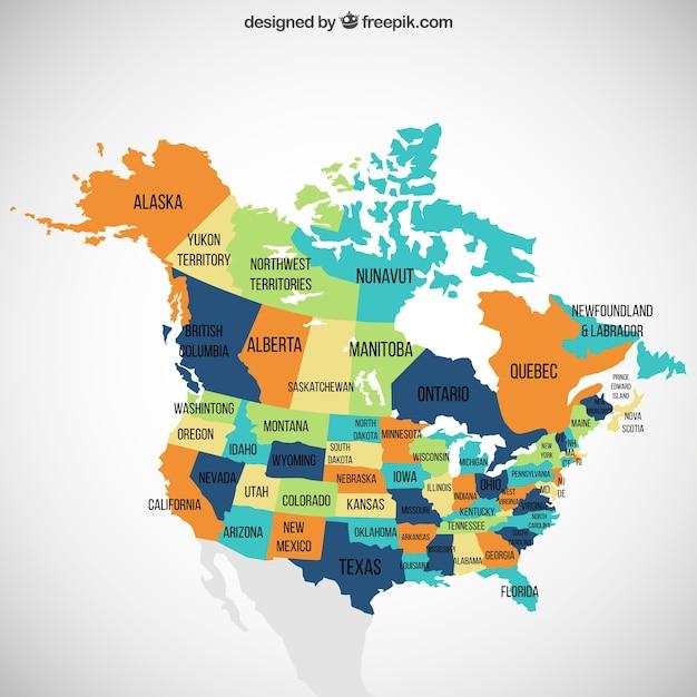 Stati uniti e canada mappa Vettore gratuito