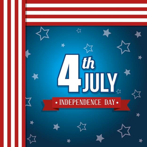 Stati uniti felice giorno dell'indipendenza, 4 luglio celebrazione Vettore gratuito