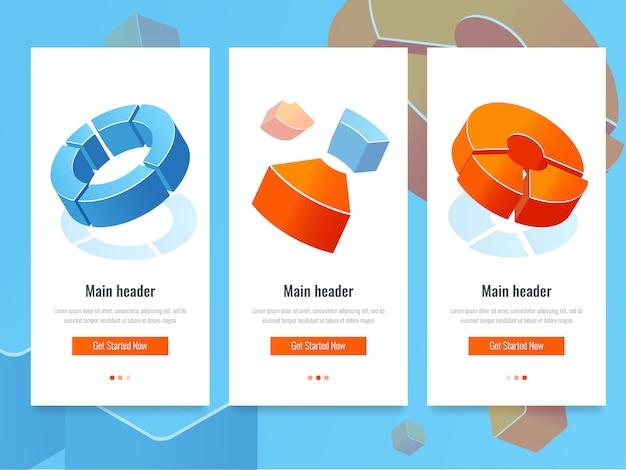Statistiche aziendali, banner con schema a cerchio, analisi e informazioni statistiche Vettore gratuito