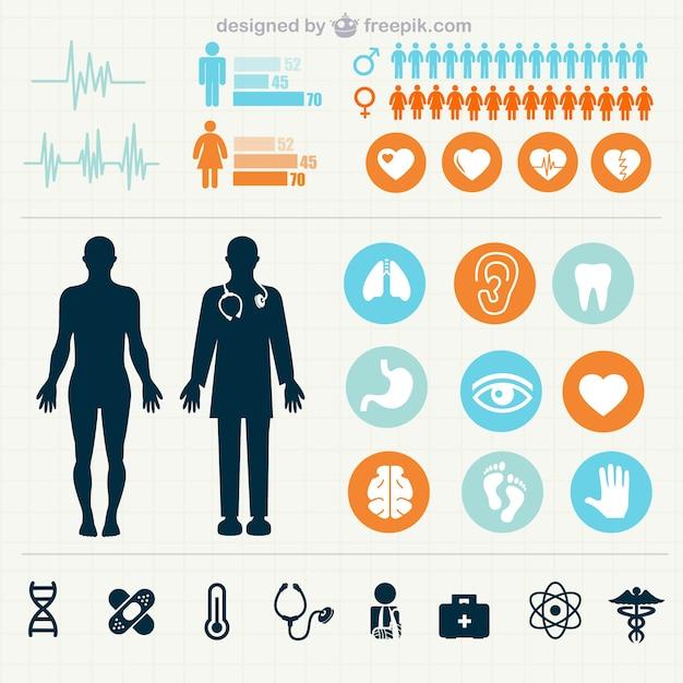 Statistiche mediche infografica Vettore gratuito