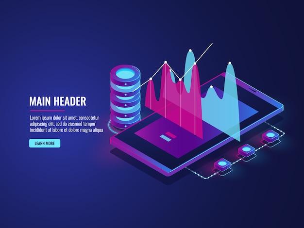 Statistiche online e analisi dei dati, cloud storage, applicazione per telefono cellulare per lavoro, trading Vettore gratuito