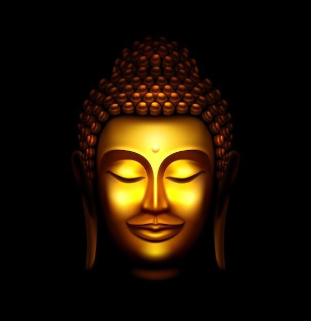 Statua di buddha Vettore Premium