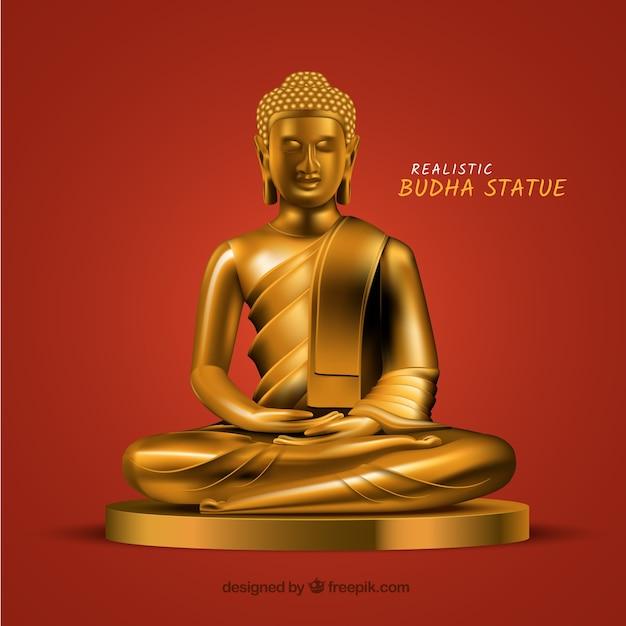 Statua di budha con stile realistico Vettore gratuito