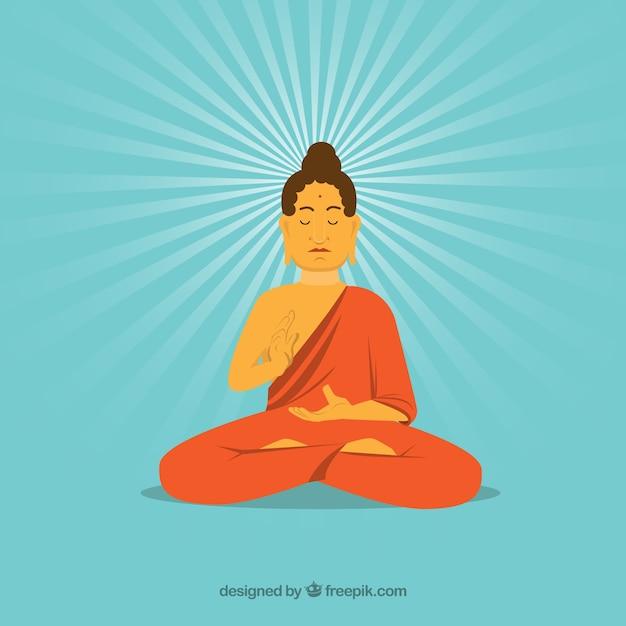 Statua di stile disegnato a mano di buddha Vettore gratuito