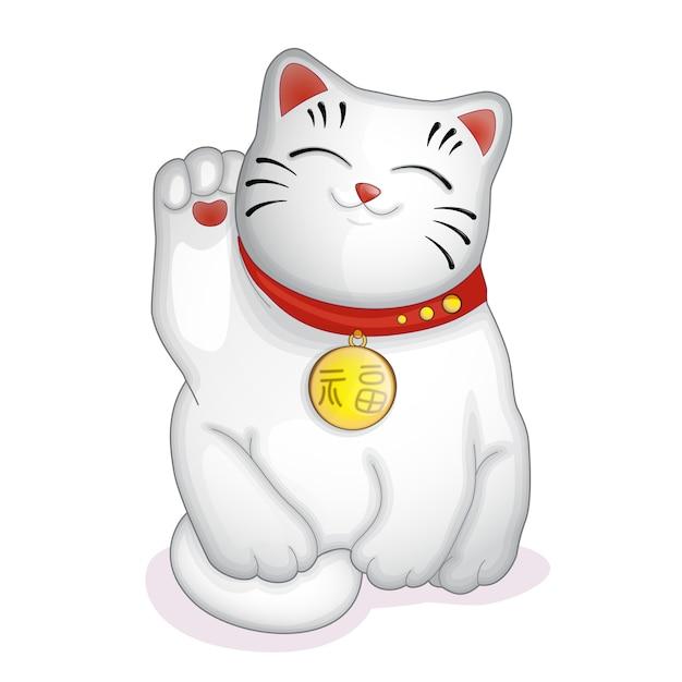 Statuetta giapponese gatto bianco maneki neko. Vettore Premium