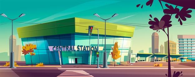 Stazione centrale di vettore sulla strada della città Vettore gratuito