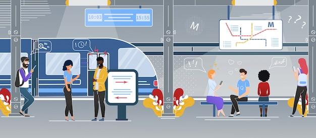 Stazione della metropolitana moderna della città piatta Vettore Premium