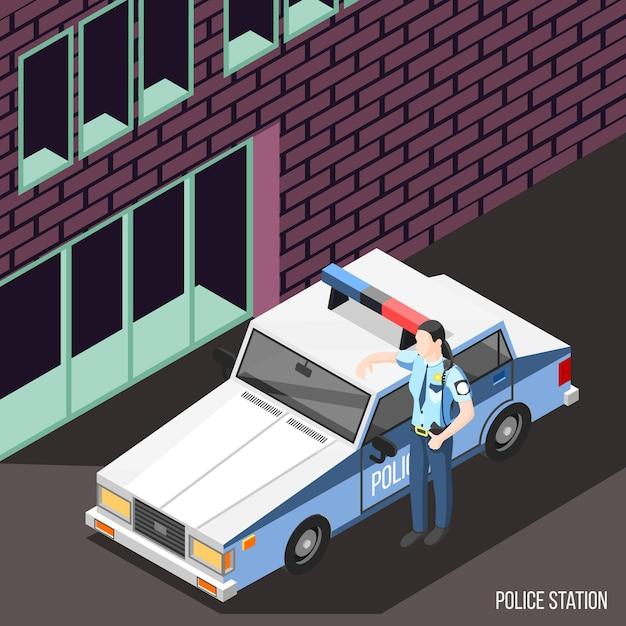 Stazione di polizia isometrica con personaggio femminile in uniforme di poliziotto in piedi vicino auto della polizia con luci lampeggianti Vettore gratuito
