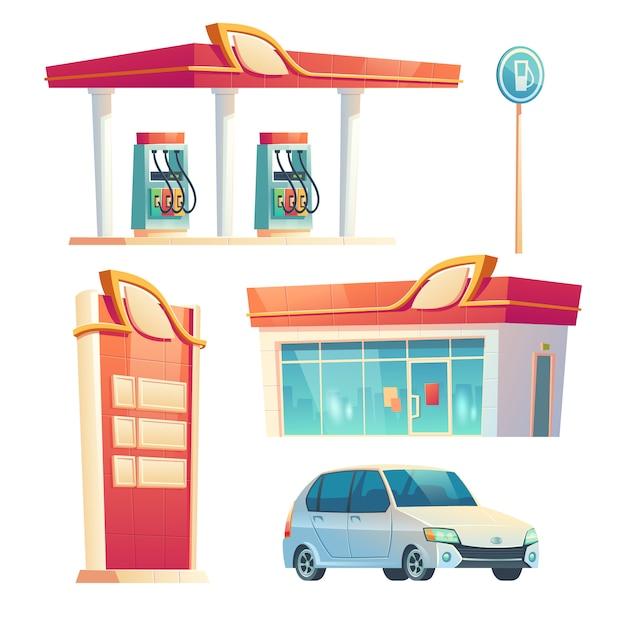 Stazione di servizio di rifornimento carburante per auto, edificio con facciata in vetro Vettore gratuito