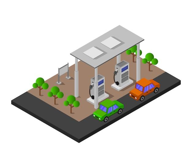 Stazione di servizio isometrica Vettore gratuito