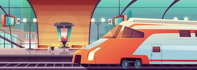 Stazione ferroviaria di vettore con treno e piattaforma Vettore gratuito