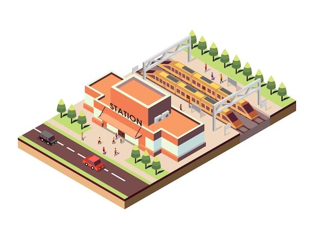 Stazione ferroviaria isometrica Vettore Premium