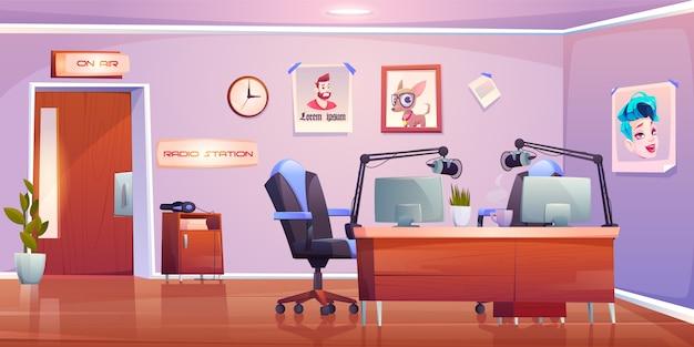 Stazione radio studio interno, design stanza vuota Vettore gratuito