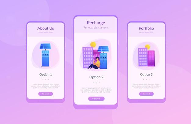 Stazioni di ricarica eco nel modello di interfaccia dell'app smart city. Vettore Premium