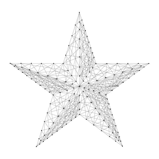 Stella a cinque punte da linee e punti neri poligonali futuristici astratti. illustrazione vettoriale Vettore Premium