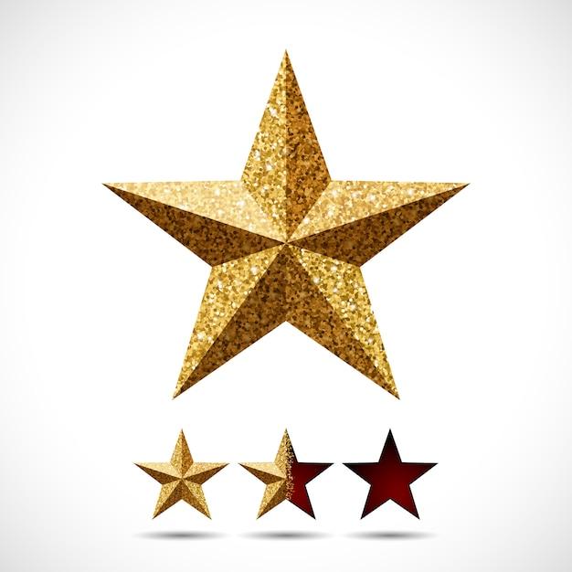 Stella con texture glitter e modello di valutazione Vettore Premium