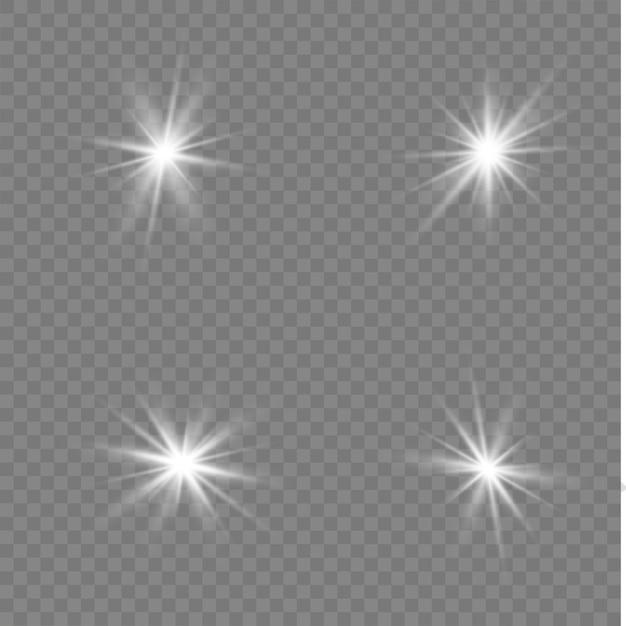 Stelle bianche, luce, riflesso lente, glitter, raggi solari, scintille. Vettore Premium