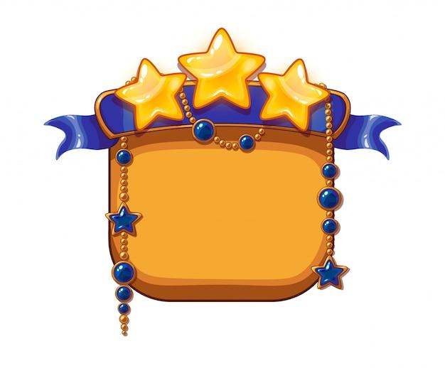 Stelle della vittoria del gioco, risorse dei cartoni animati. stelle dorate con nastro azzurro e pietre preziose Vettore Premium