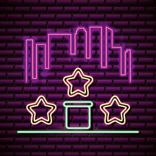 Stelle e skyline in stile neon, relativi ai videogiochi Vettore gratuito