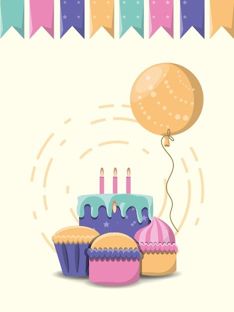 Stendardi decorativi e torta e cupcakes di compleanno sopra fondo bianco Vettore Premium