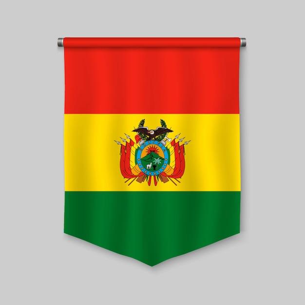 Stendardo realistico 3d con la bandiera della bolivia Vettore Premium