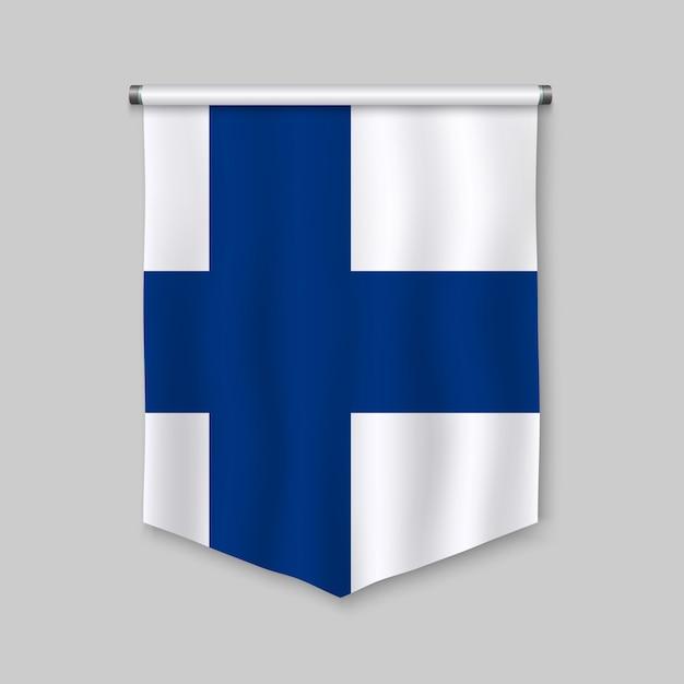 Stendardo realistico 3d con la bandiera della finlandia Vettore Premium