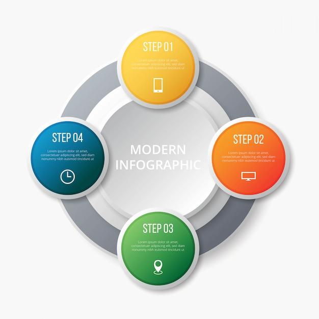 Step infografico moderno Vettore Premium