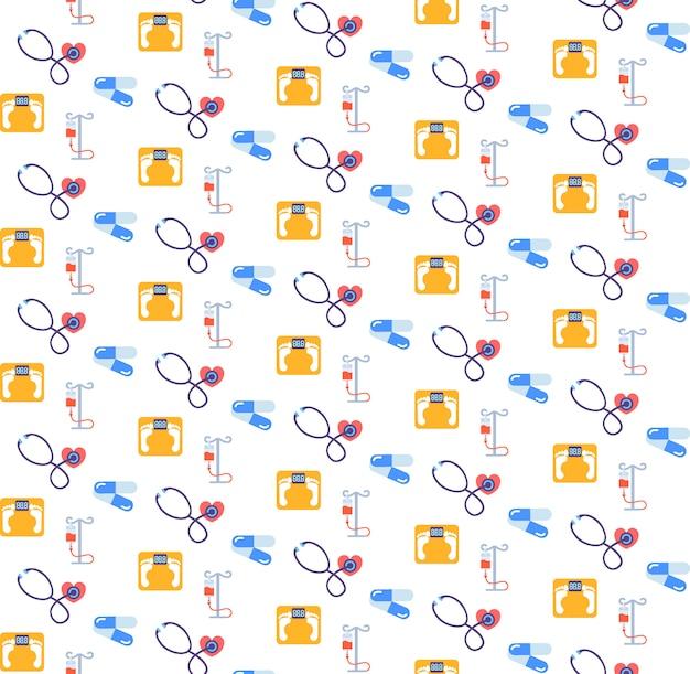Stetoscopio contagocce bilancia antibiotico pillole icona assistenza sanitaria servizio medico logo medicina e salute simbolo seamless pattern piatto Vettore Premium