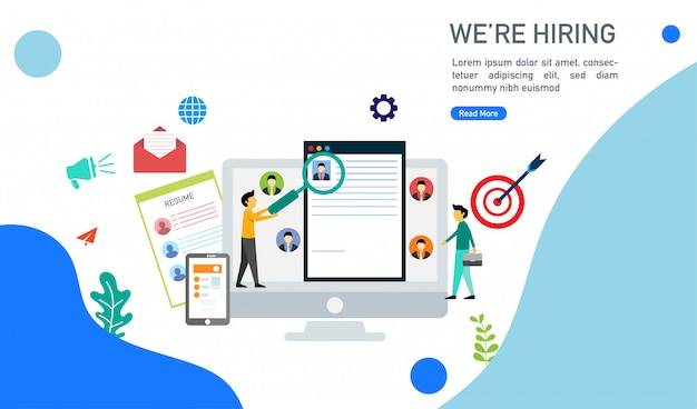 Stiamo assumendo e concetto di reclutamento online con illustrazione di vettore di carattere di persone minuscole. Vettore Premium