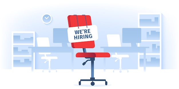 Stiamo assumendo il segno alla sedia di lavoro vacante di comodità nell'ufficio di affari vuoto ergonomico comodo Vettore Premium