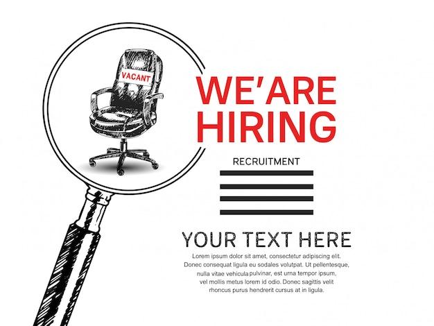 Stiamo assumendo poster di lavoro con lente d'ingrandimento e sedia disegnata a mano Vettore Premium