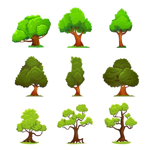 Stile cartone animato albero verde Vettore Premium
