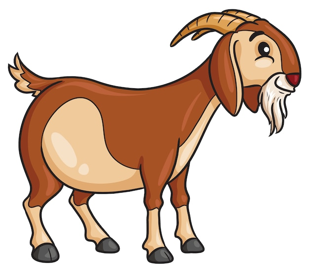 Stile cartone animato di capra Vettore Premium