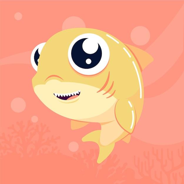 Stile cartoon carino squalo bambino Vettore gratuito