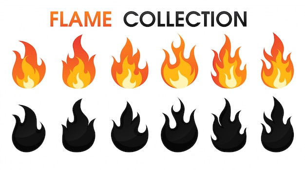 Stile cartoon piatto di raccolta di fiamma di fuoco. Vettore Premium