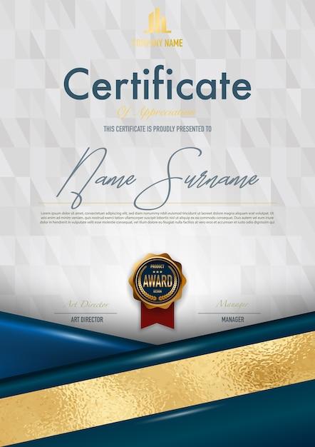 Stile del certificato del lusso e stile del diploma, illustrazione di vettore. Vettore Premium