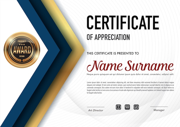 Stile del certificato e stile del diploma ,. Vettore Premium
