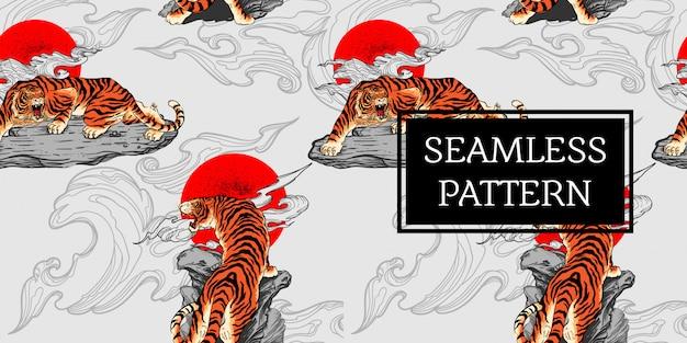 Stile del giappone del tatuaggio della tigre di progettazione senza cuciture del modello Vettore Premium