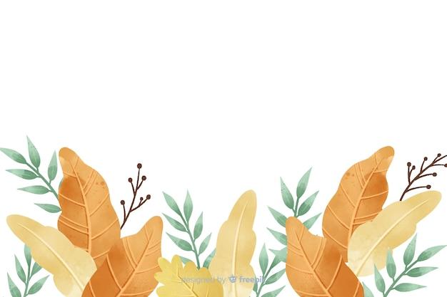 Stile dell'acquerello del fondo delle foglie di autunno Vettore gratuito