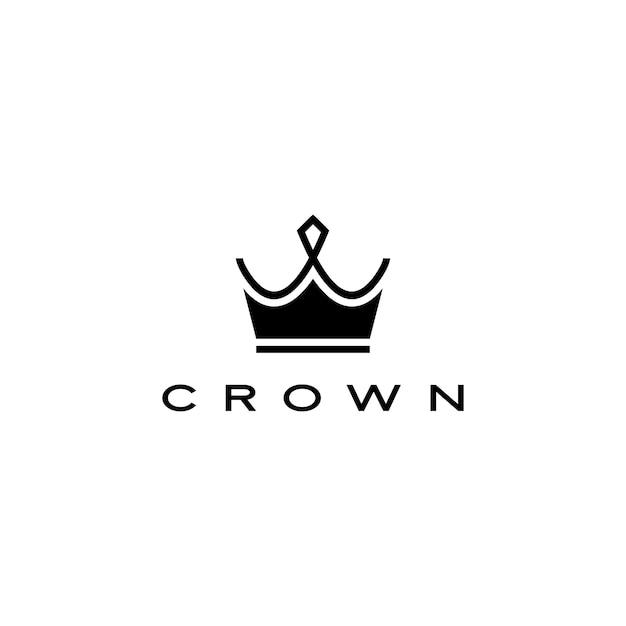 Stile delle bande della linea dell'illustrazione dell'icona di logo della corona Vettore Premium