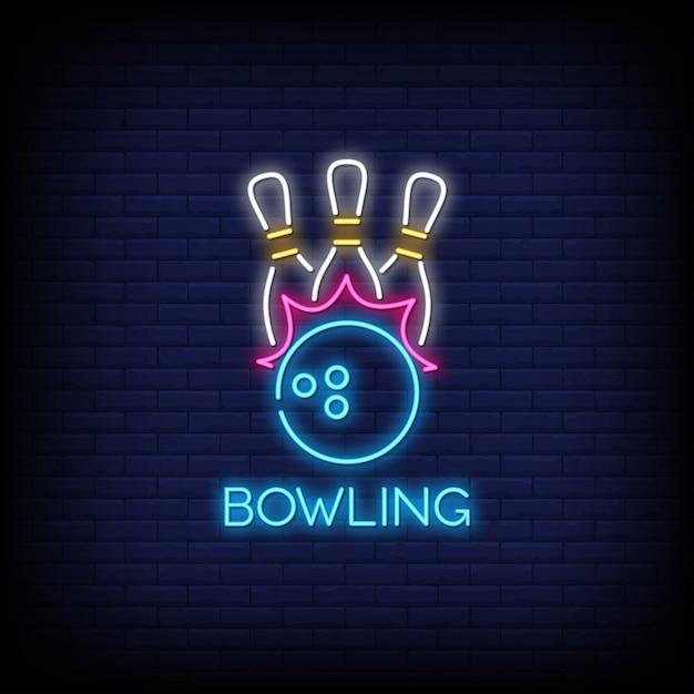 Stile delle insegne al neon di bowling Vettore Premium