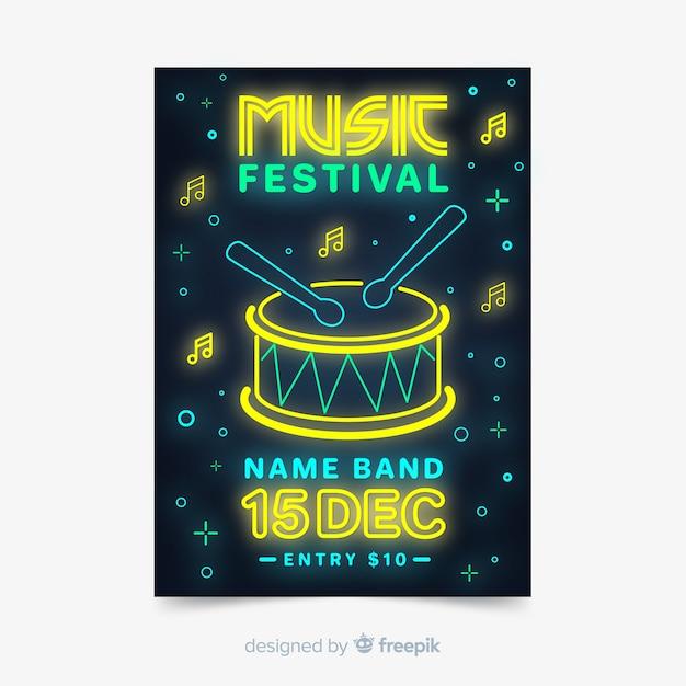 Stile delle luci al neon del manifesto di festival di musica stile Vettore gratuito