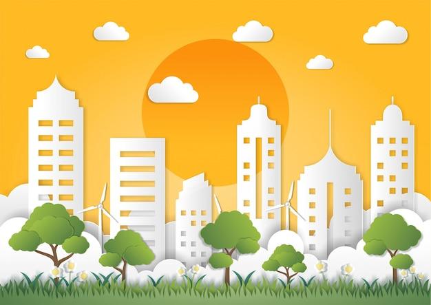 Stile di arte di carta del paesaggio con la città verde di eco Vettore Premium